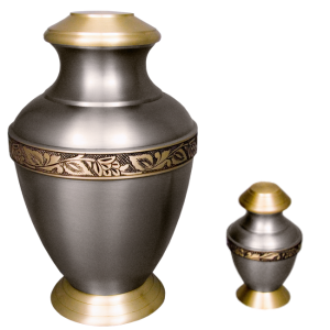Roman IV - Satin Pewter w/Etched Bronze Band and Goldtone Top and Base (Adult)