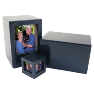 Somerset Blue Large Solid Box Urn (Non Picture Frame) Picture Frame Version Link Below