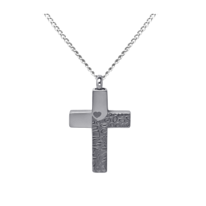 Tone on Tone Cross  Stainless Steel with Chain