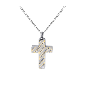 Diagonal Jeweled Cross  - Stainless Steel with Chain