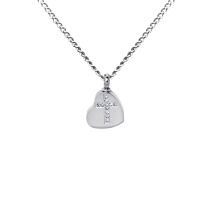 Heart and Cross    - Stainless Steel with Chain