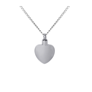 Plain Heart     - Stainless Steel with Chain