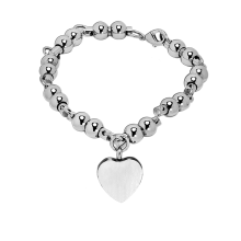 Silver Bead Bracelet with Heart - Adjustable