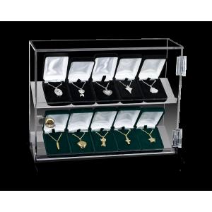 Jewelry Display Case - 10 Unit Acrylic Case with Lock