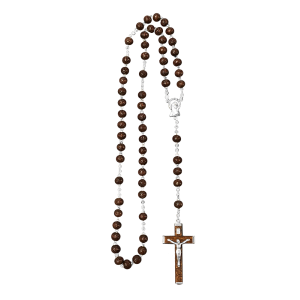 Dark Hardwood Rosary - Dark Hardwood Bead with Hardwood Cross