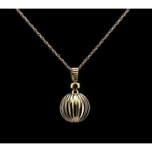 Ribbed Ball - 14k Gold with Chain