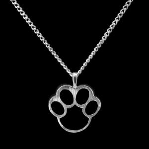 Paw, Black Cremation Necklace- Sterling Silver