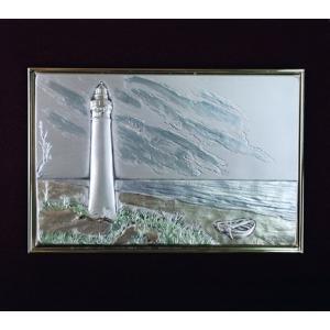Lighthouse Landscape - Sterling Silver Plaque