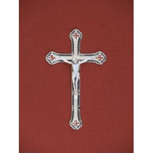 Silver/Blue Crucifix, Urn Applique